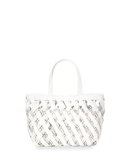 Nancy Gonzalez Small Woven Crocodile Tote Bag