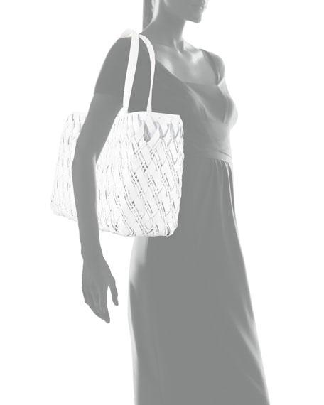 Nancy Gonzalez Large Woven Crocodile Tote Bag