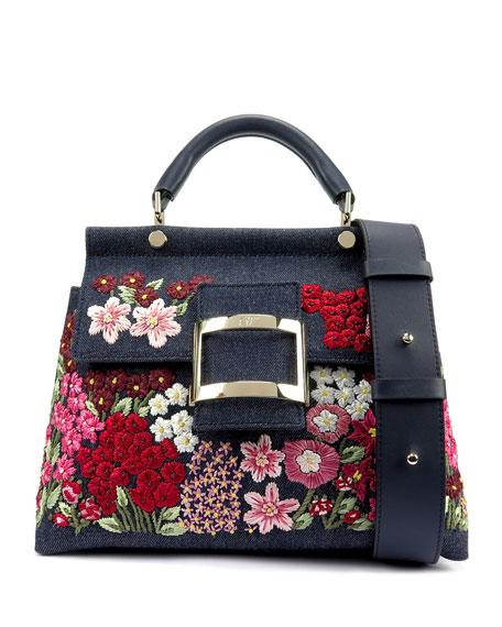 Roger Vivier Viv' Fleurissime Cabas Top-Handle Bag