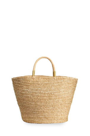 Sensi Studio Maxi Woven Straw Basket Tote Bag w/ Double Golden Thread
