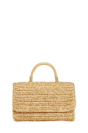 Sensi Studio Woven Straw Top Handle Satchel Bag w/ Double Golden Thread