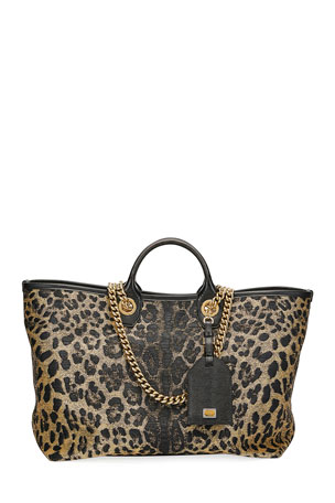 Dolce & Gabbana Capri Large Leopard Shopping Tote Bag