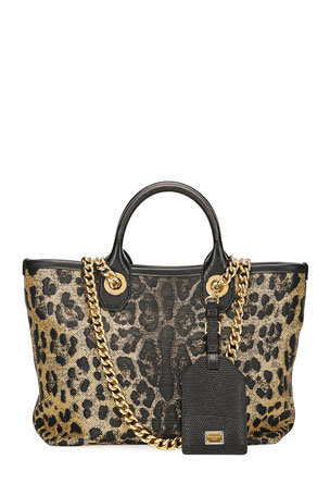Dolce & Gabbana Capri Small Leopard Shopping Tote Bag