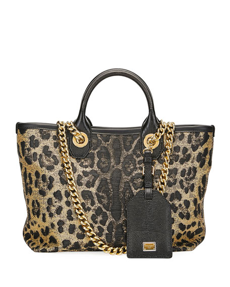 Image 1 of 2: Dolce & Gabbana Capri Small Leopard Shopping Tote Bag