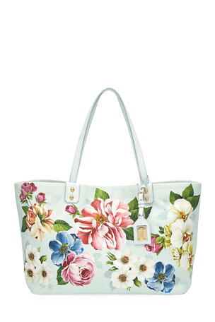 Dolce & Gabbana Beatrice Floral Canvas Shoulder Tote Bag