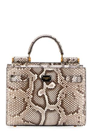 Dolce & Gabbana Sicily Mini Python Top-Handle Bag