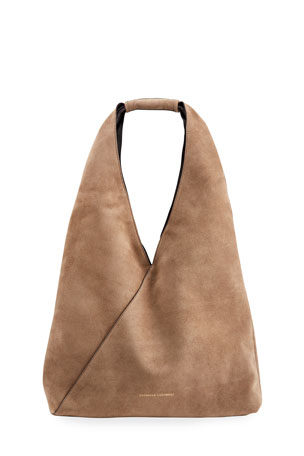 Brunello Cucinelli Large Smooth Leather Hobo Bag with Monili