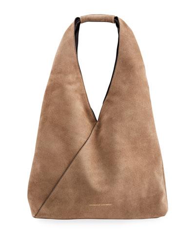 Large Smooth Leather Hobo Bag with Monili