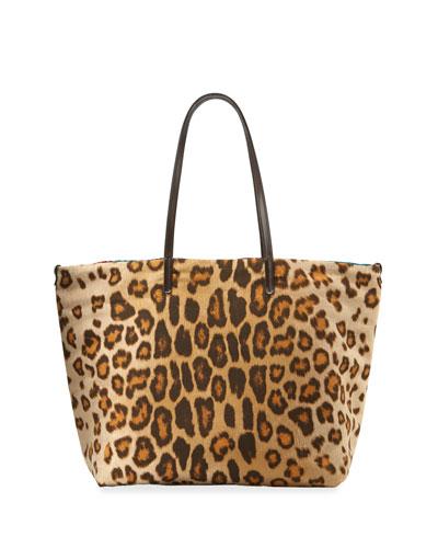 Leopard-Print Shopper Tote Bag