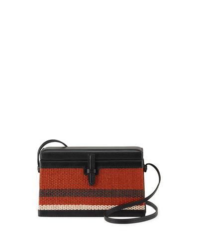 Square Trunk Striped Raffia Box Bag
