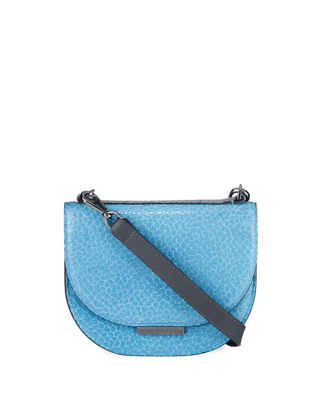 Brunello Cucinelli Stamped Leather Half-Moon Crossbody Bag