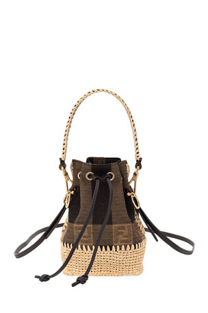 Fendi Mon Tresor Mini Braided Jaquard Pequin Bucket Bag