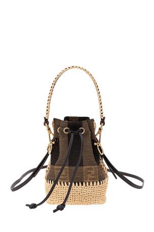 Fendi Mon Tresor Mini Braided Jaquard Pequin Bucket Bag