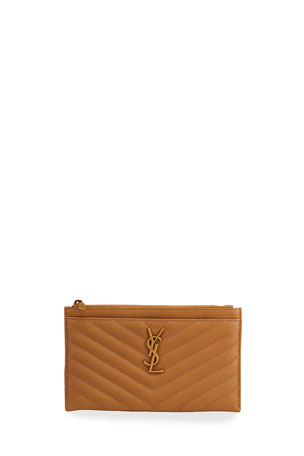 Saint Laurent Monogram YSL Grain de Poudre Bill Pouch Wallet