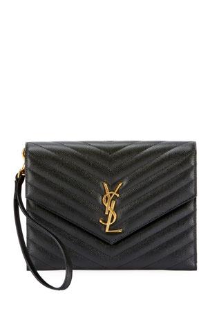 Saint Laurent YSL Monogram Grain de Poudre Clutch Bag