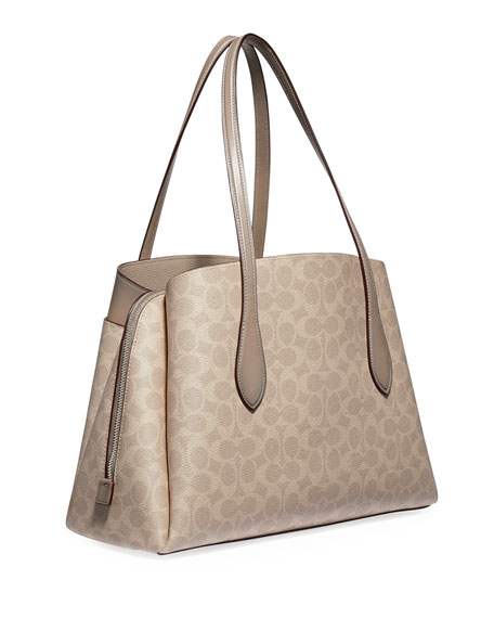 Image 4 of 4: Coach 1941 Lora Coated Canvas Signature Carryall Bag