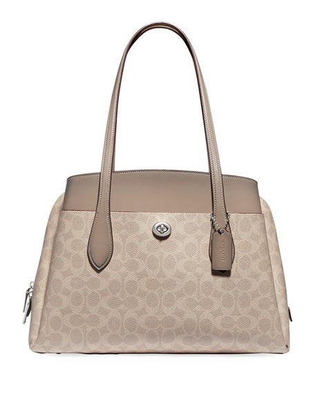 Image 1 of 4: Coach 1941 Lora Coated Canvas Signature Carryall Bag