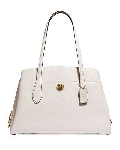 Lora Polished Pebble Leather Carryall Bag