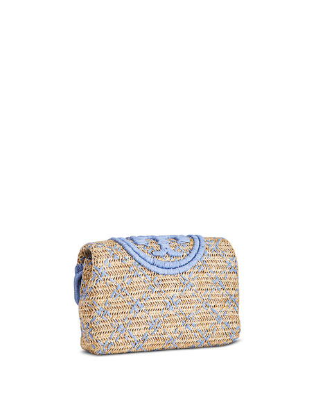 Image 3 of 4: Tory Burch Fleming Soft Straw Clutch Bag
