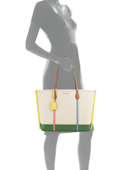 Tory Burch Perry Multicolored Strap Canvas Tote Bag