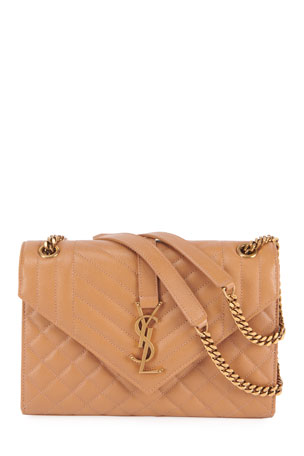Saint Laurent Monogram YSL Large Tri-Quilted Envelope Chain Shoulder Bag