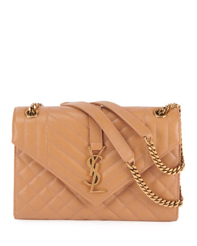 Monogram YSL Large Tri-Quilted Envelope Chain Shoulder Bag