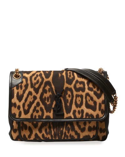Niki Medium Leopard-Print YSL Shoulder Bag