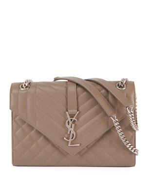 Saint Laurent Triquilt Medium YSL Monogram V Flap Shoulder Bag