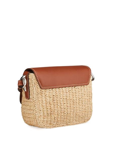 Image 3 of 4: Prada Raffia Emblem Leather Crossbody Bag
