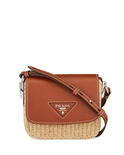 Raffia Emblem Leather Crossbody Bag