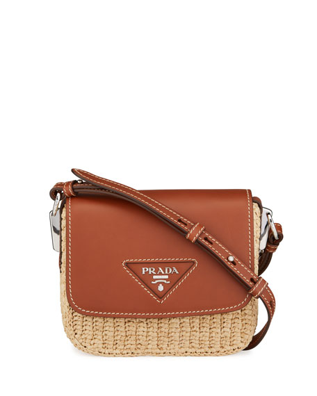 Image 1 of 4: Prada Raffia Emblem Leather Crossbody Bag