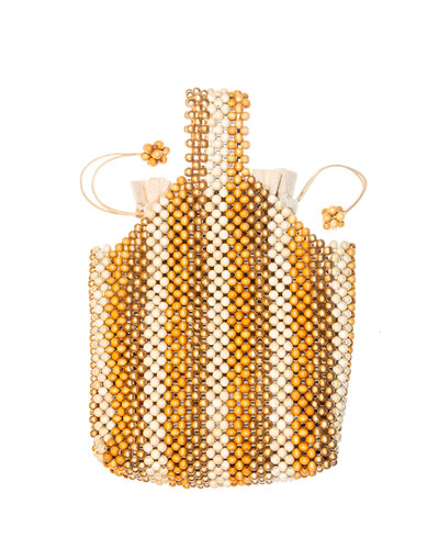 Wooden Beaded Wristlet Pouch Bag