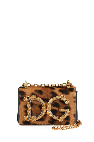 Dolce & Gabbana Mini Barocco Leopard Shoulder Bag