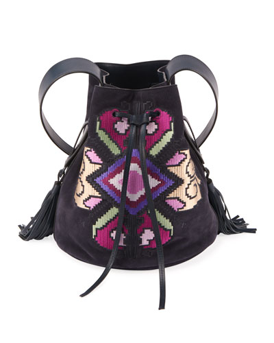 Moshy Embroidered Suede Bucket Bag