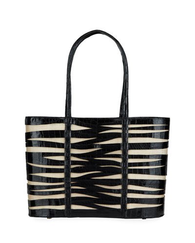 Large Zebra Croc/Linen Tote Bag