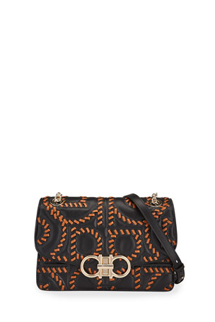 Salvatore Ferragamo Gancio Quilting Embroidery Crossbody Bag