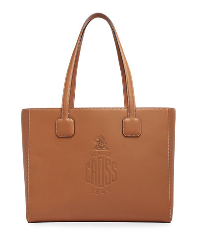 Cannes Soft Leather Logo Tote Bag