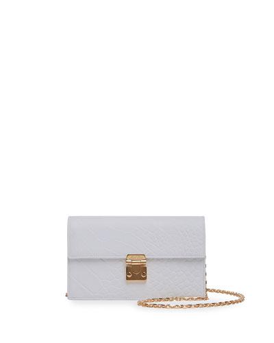 Jacqueline Croc-Stamped Leather Shoulder Bag