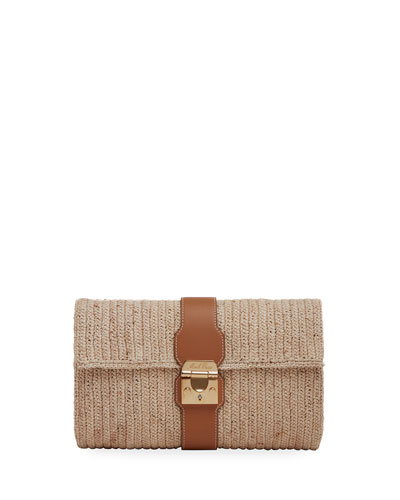 Sylvette Raffia/Soft Calf Clutch Bag