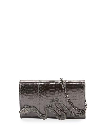 Serpent Snakeskin Clutch Bag
