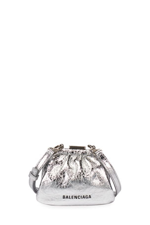 Balenciaga Cloud Mini Metallic Coin Purse with Strap