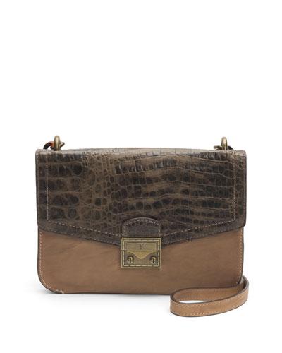 Ella Croc-Stamped Crossbody Bag