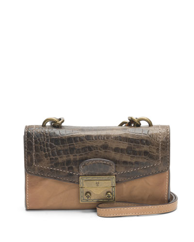 Ella Croc-Stamped Crossbody Phone Bag