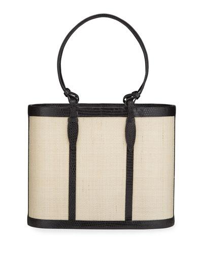 Lizard Ring Handle Basket Bucket Bag