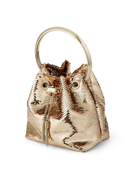 Image 4 of 5: Jimmy Choo Bon Bon Sequin Top Handle Bag