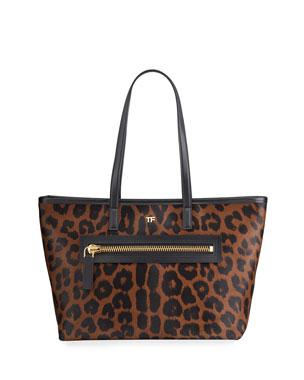 TOM FORD Medium Leopard-Print Zip Tote Bag