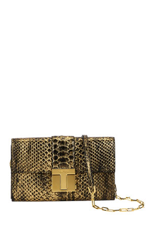 TOM FORD T Clasp Two-Tone Laminated Python Wallet on Chain