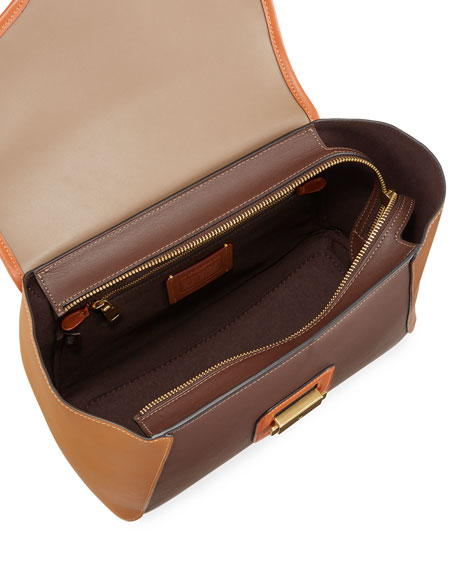 Image 2 of 4: Courier Carryall Satchel Bag in Colorblock Leather