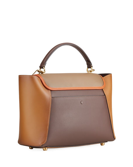 Image 3 of 4: Courier Carryall Satchel Bag in Colorblock Leather