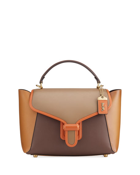 Image 1 of 4: Courier Carryall Satchel Bag in Colorblock Leather